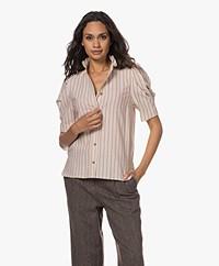 Vanessa Bruno Samuel Ticking Stripe Short Sleeve Blouse- Ecru