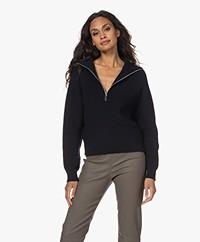 Róhe Carry Wool Fisherman's Rib Sweater - Navy