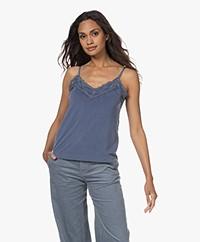 Plein Publique Loulou Cupro Mix Lace Top - Jeans Blue