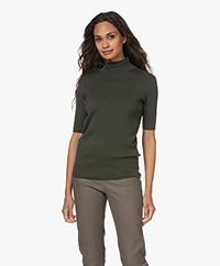 JapanTKY Tora Cotton Short Sleeve Turtleneck Sweater - Army Green