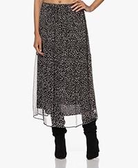 no man's land Crepe Chiffon Maxi Printed Skirt - Black/Ivory
