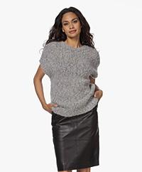 Sibin/Linnebjerg Sydney West Chunky Knitted Short Sleeve Sweater - Melange Grey