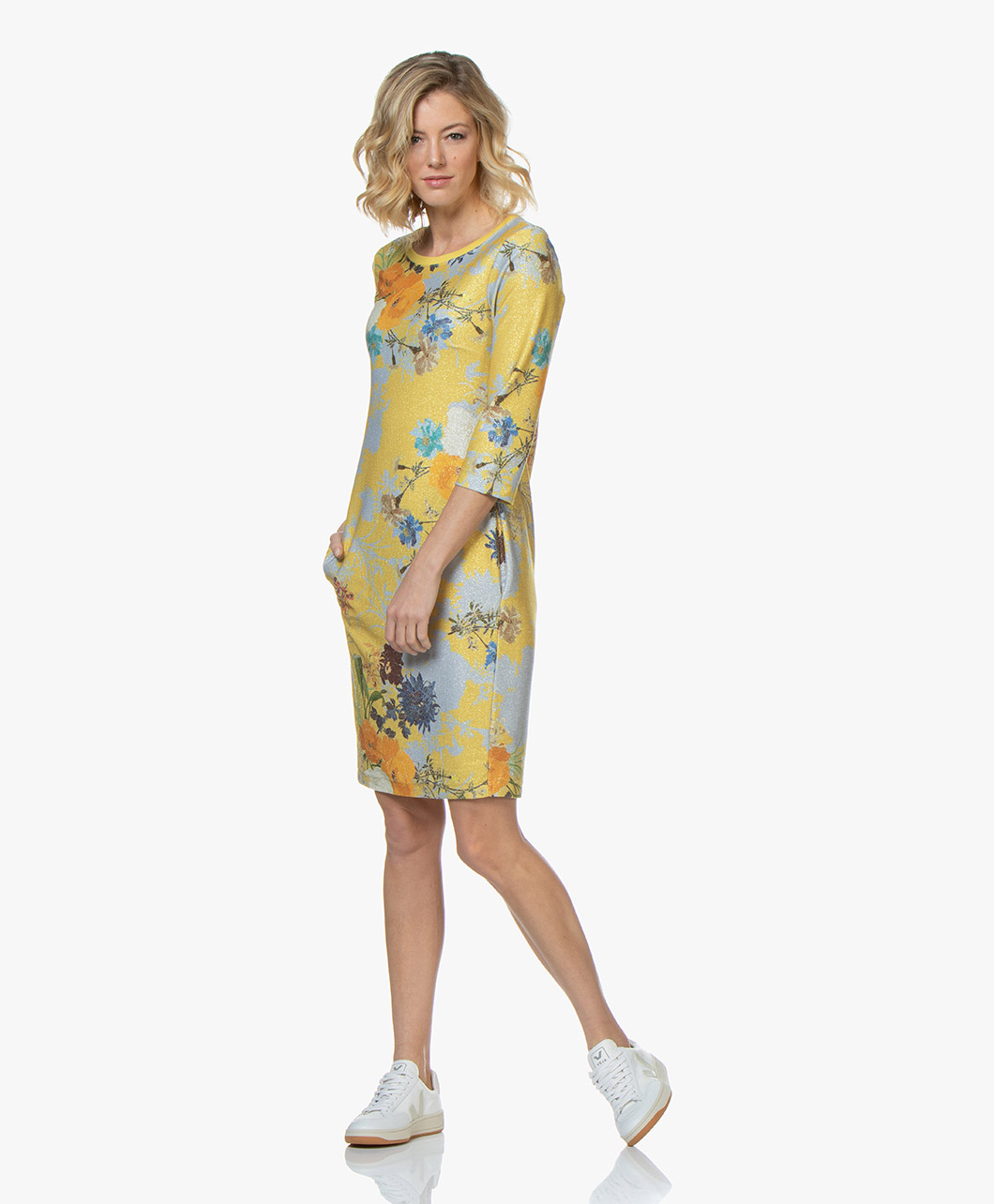 3252575c615dcc Kyra   Ko Milica Lurex Printed Dress - Yellow - milica