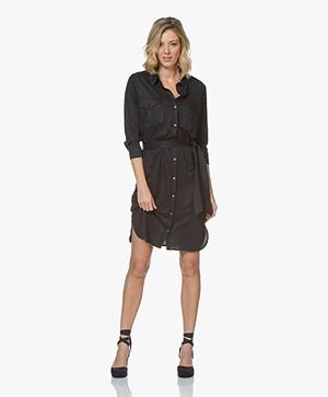 Majestic Filatures Jersey Linen Dress Shirt Dress - Marine