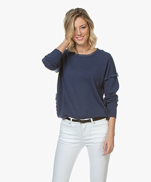 Repeat Cashmere Sweater with Fringes - Dark Blue