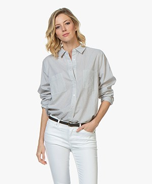 Repeat Oversized Tencel Blend Striped Blouse - Grey