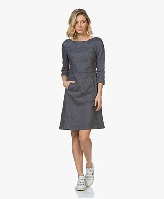 BOSS Alitto Denim Chambray A-line Dress - Open Blue