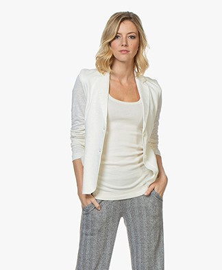 Majestic Filatures Linen Blend Jersey Blazer - Off-white