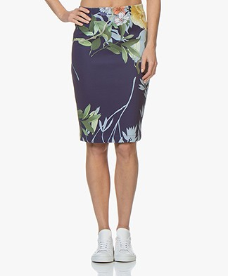 Kyra & Ko Annabel Scuba Jersey Skirt with Print - Ink