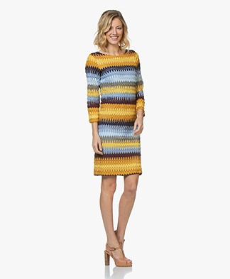 Kyra & Ko Reeva Crochet Print Jurk - Blauw/Geel