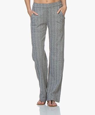 Majestic Filatures Herringbone Jersey Pants - Black/Milk