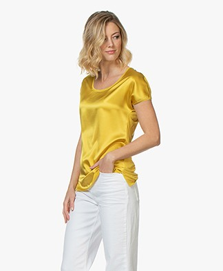 Kyra & Ko Myrna T-shirt with Silk Front - Yellow