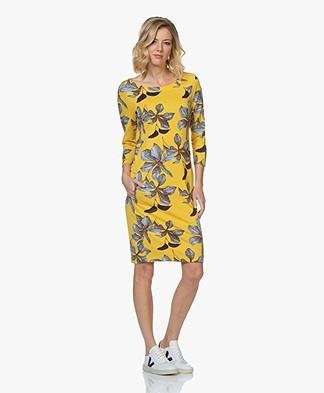 Kyra & Ko Senna Print Dress with Cropped Sleeves - Yellow