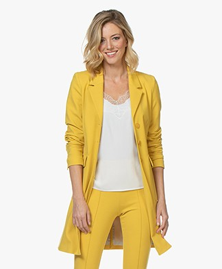 Kyra & Ko Jorien Interlock Jersey Blazer Coat - Yellow