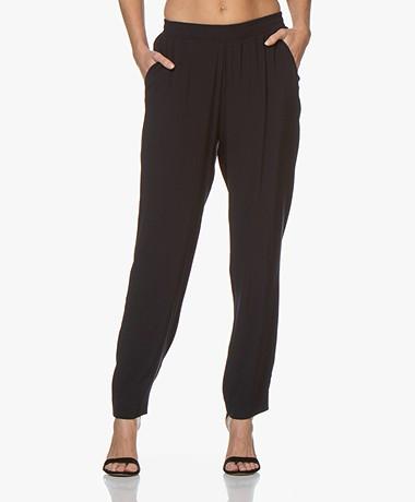 LaSalle Crepe Loose-fit Pants - Navy