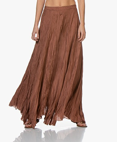Joseph Nanco Habotai Silk Crinkle Maxi Skirt - Dusty Rose