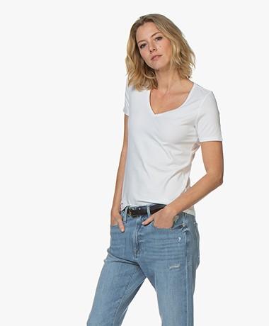 Repeat Stretch Katoenen V-hals T-shirt - Wit