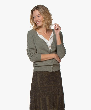 Repeat Cashmere V-neck Cardigan - Khaki