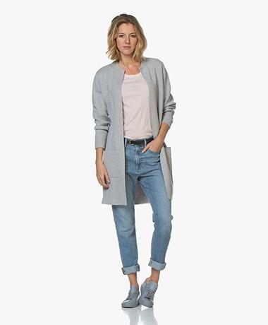 Sibin/Linnebjerg Holland Fine Knit Mid-length Cardigan - Grey Melange