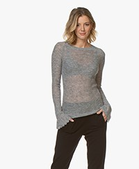 By Malene Birger Nasa Alpacamix Trui met Flared Mouwen - Medium Grijs