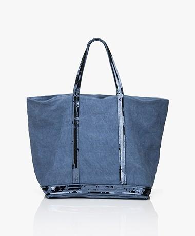 Vanessa Bruno Medium Linen Zip Shopper - Ocean