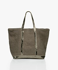 Vanessa Bruno Medium Linen Zip Shopper - Khaki