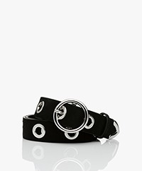 IRO Becka Suede Belt with Eyelets - Black