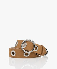 IRO Becka Suede Belt with Eyelets - Camel