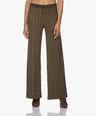 SIYU Merino Knitted Striped Pants - Brown/Green