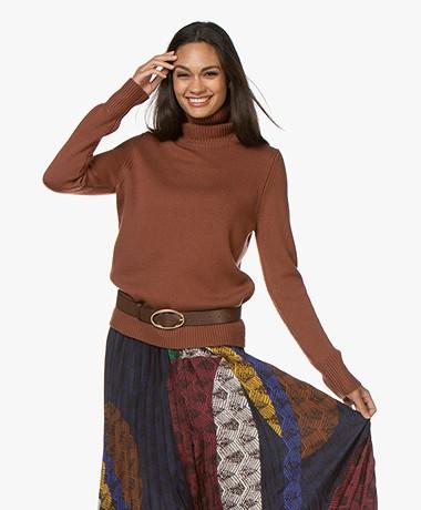 Repeat Merino Wool Turtleneck Sweater - Brick