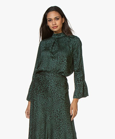 Plein Publique La Musee Printed Blouse - Green Panther