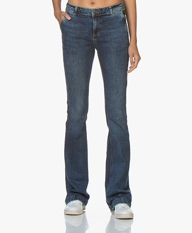 by-bar Leila Long Flared Jeans - Mid Blue Denim