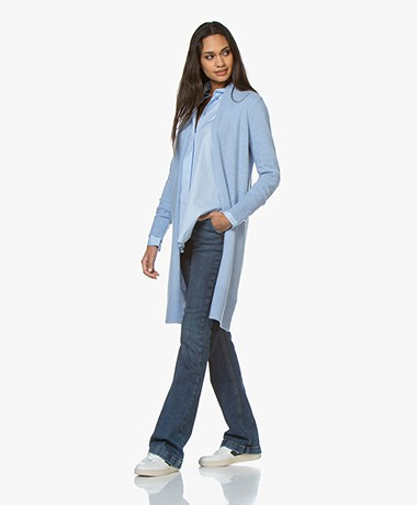 Josephine & Co Guno Mid-length Wool Blend Cardigan - Light Blue
