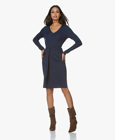 Repeat Rib Knitted Merino Dress - Night Blue