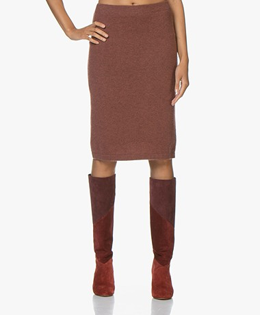 Repeat Cashmere Knitted Skirt - Terra Melange