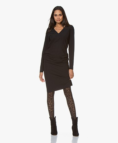 JapanTKY Yill Travel Jersey V-neck Dress - Black
