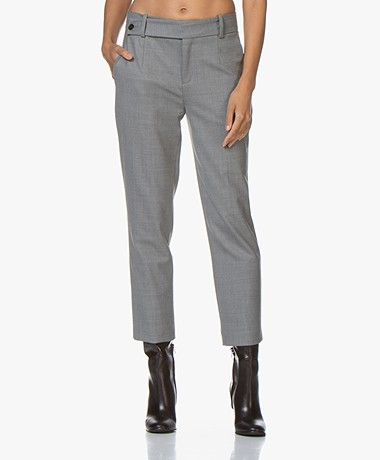 Drykorn Begin Cropped Wolmix Pantalon - Grijs