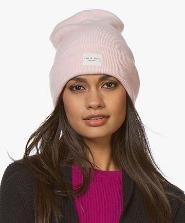 Rag & Bone Addison Merino Wool Blend Beanie - Pink Rose