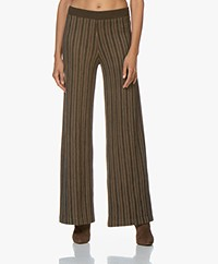SIYU Merino Knitted Striped Pants - Brown/Green