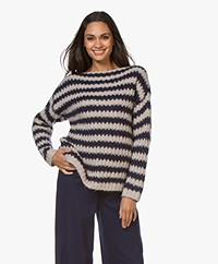 Repeat Striped Mohair Blend Sweater - Ice/Night Blue