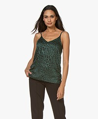 Plein Publique Le Sage Viscose Top - Green Panther