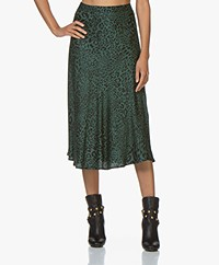 Plein Publique Le Cristal Viscose Midi Skirt - Green Panther