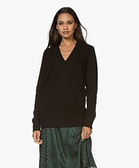 Repeat Long Wool V-neck Sweater - Black