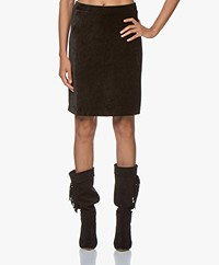 no man's land Velvet Jersey Skirt - Black
