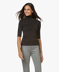 Filippa K Merino Elbow Sleeve Sweater - Charcoal Mélange