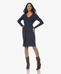 Repeat Rib Gebreide Merino Jurk - Night Blue