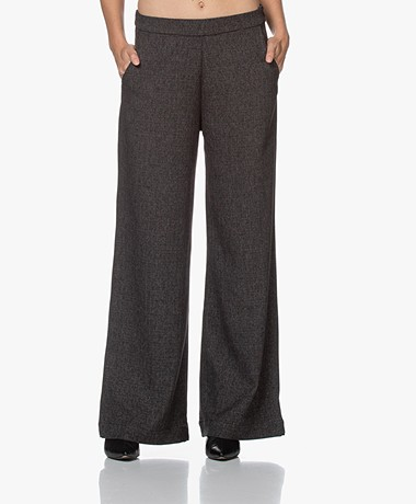 indi & cold Wide Leg Pants - Dark Grey Melange