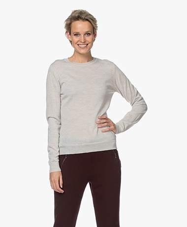 by-bar Lisa Fine Knitted Merino Pullover - Light Greige
