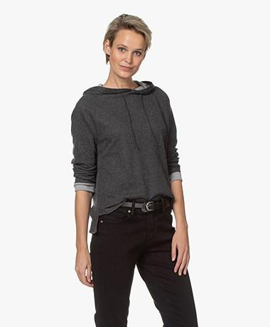 Majestic Filatures Jersey Sweatshirt met Capuchon - Antraciet/Lichtgrijs