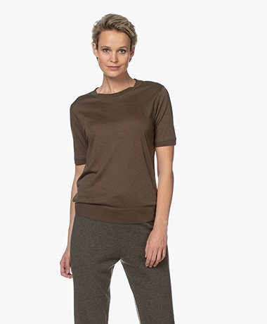 Repeat Short Sleeve Lyocell Blend Sweater - Khaki